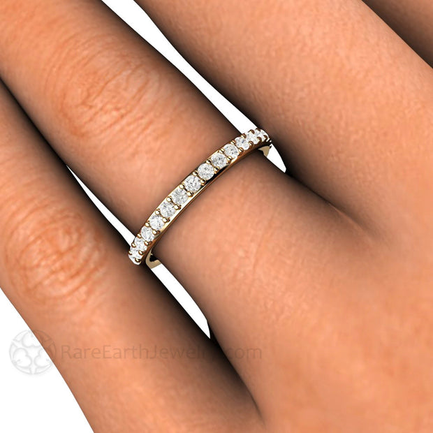 Rare Earth Jewelry Round Cut Classic Diamond Band on Finger