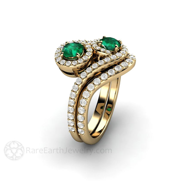 Unique Green Emerald Bridal Set Two Stone Round Cut with Diamond Halo 18K Gold