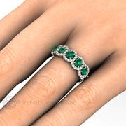 Rare Earth Jewelry Natural Emerald and Diamond Ring 14K Gold Halo Setting