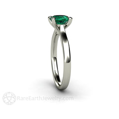 Rare Earth Jewelry Green Emerald Solitaire Ring May Birthstone