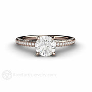Rare Earth Jewelry Rose Gold Moissanite Solitaire Ring Petite Pave Diamond Setting 1ct Round Charles & Colvard