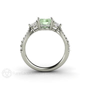 14K Round Cut Green Moissanite 3 Stone Right Hand Ring Rare Earth Jewelry