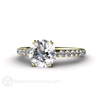 Rare Earth Jewelry Forever One Moissanite Engagement Ring Double Prong Conflict Free 2 Carat Colorless Solitaire