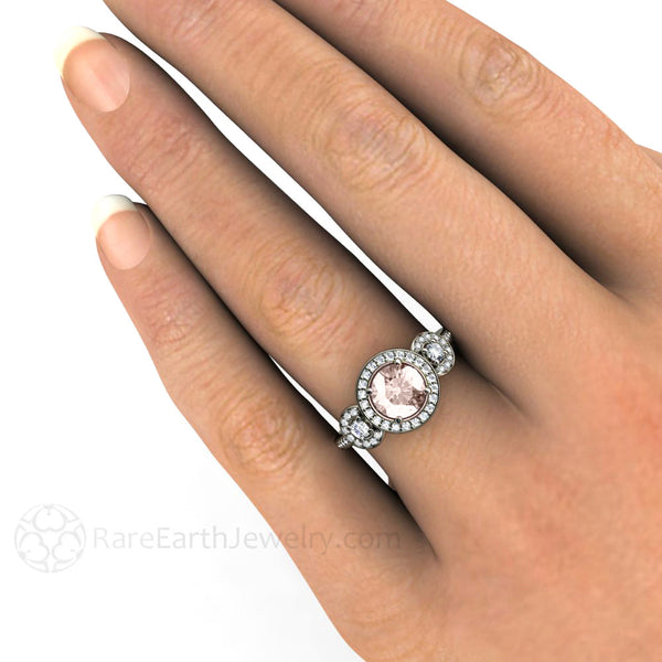 Morganite Engagement Ring 3 Stone Round Diamond Halo