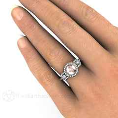 Morganite Bridal Anniversary Ring 3 Stone Diamond Halo on Finger Rare Earth Jewelry