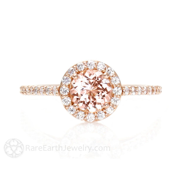 Natural Morganite Halo Wedding Ring 14K or 18K Gold Rare Earth Jewelry