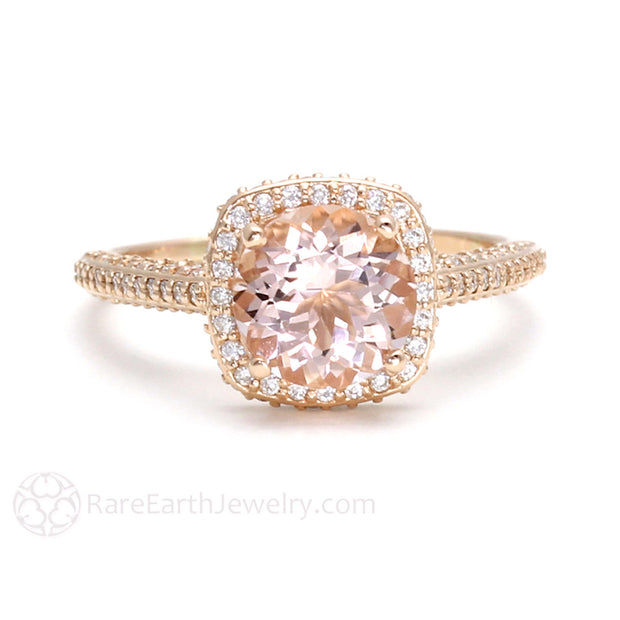 Rose Gold Morganite Engagement Ring Diamond Halo and Accent Stones Rare Earth Jewelry