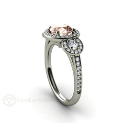 Morganite Ring Round Cut 3 Stone Diamond Halo 14K White Gold Rare Earth Jewelry