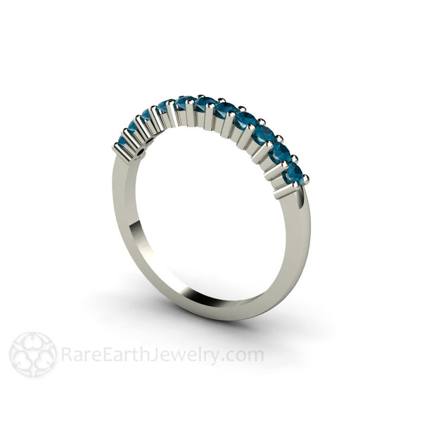 Blue Topaz Stackable Band 14K White Gold Rare Earth Jewelry