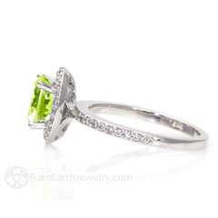 Round Cut Peridot Ring with Diamond Halo Accent Stones Rare Earth Jewelry