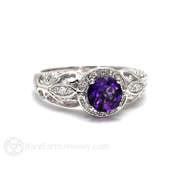 Rare Earth Jewelry Amethyst Ring Round Cut Halo Anniversary or Birthstone