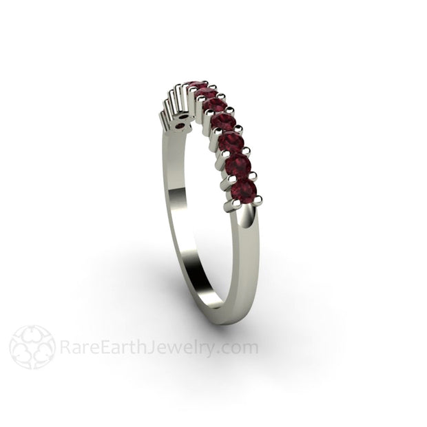 Round Cut Garnet Ring 14K White Gold Stackable Band Rare Earth Jewelry