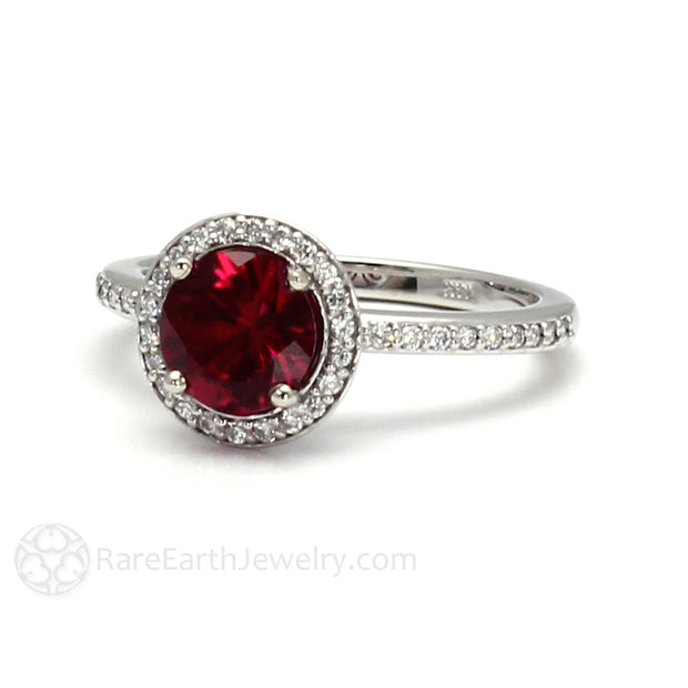 Red Ruby Bridal Ring with Diamond Halo 14K Gold Rare Earth Jewelry