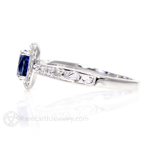 Rare Earth Jewelry Blue Sapphire Halo Wedding Anniversary or Bridal Ring