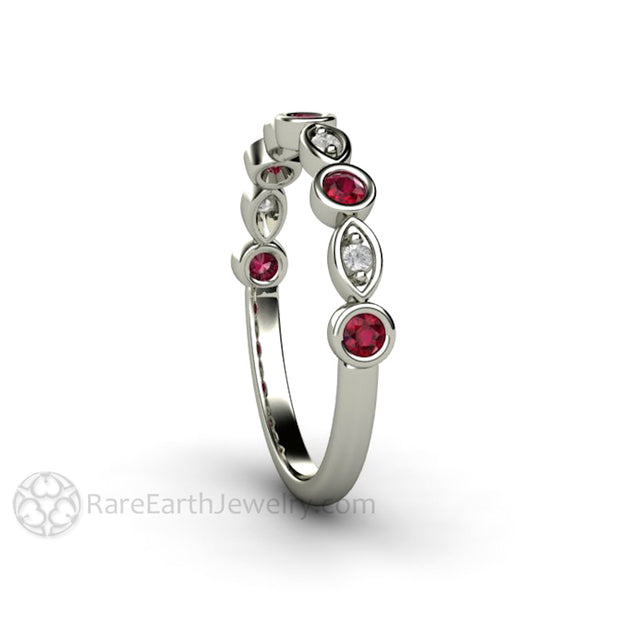 Ruby Bridal Ring with Diamond Accent Stones 14K White Gold Rare Earth Jewelry