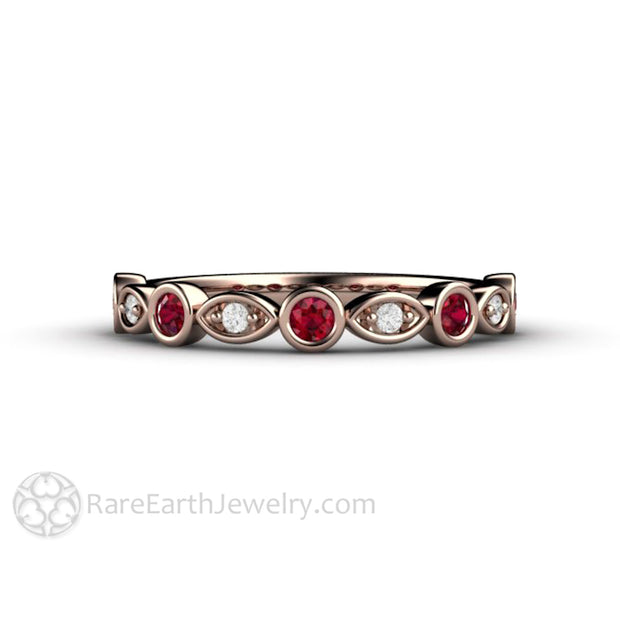 Ruby July Birthstone Ring Diamond Accented Stackable Band 14K Rose Gold Bezel Setting Rare Earth Jewelry