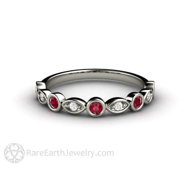 Ruby Wedding Ring Round Cut Gemstones Diamond Accents 18K White Gold Rare Earth Jewelry