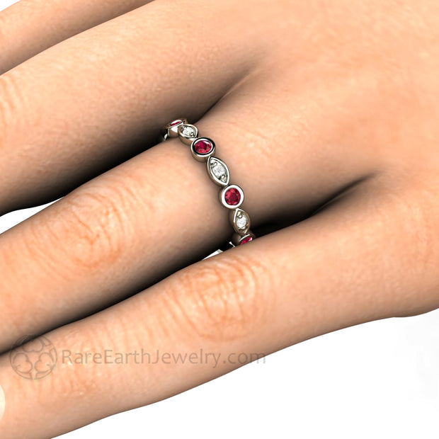 Ruby and Diamond Stacking Ring on Finger July Birthstone Stackable Band Rare Earth Jewelry