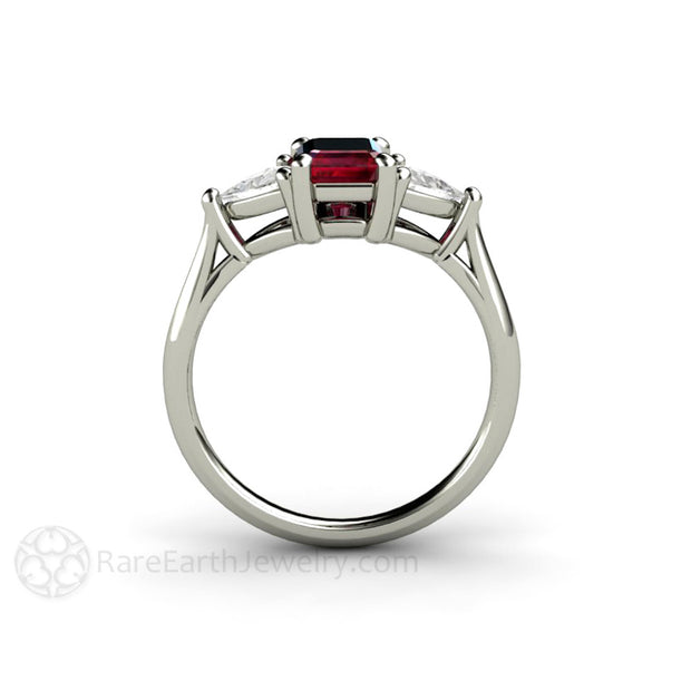 Three Stone Ruby and White Sapphire Ring Antique Design Rare Earth Jewelry