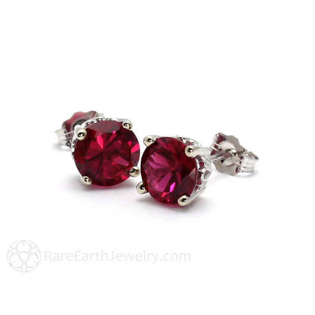 4 Prong Filigree Round Cut Ruby Earrings Rare Earth Jewelry
