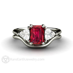 Ruby Wedding Set 3 Stone Engagement with Plain Gold Band 14K or 18K Rare Earth Jewelry