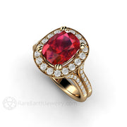 14K Yellow Gold Cushion Ruby with Diamond Accents Engagement Ring Rare Earth Jewelry