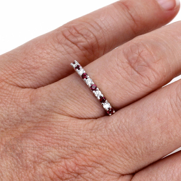 Rare Earth Jewelry Ruby with Diamonds Right Hand Ring on Finger Stacking Band Rare Earth Jewelry