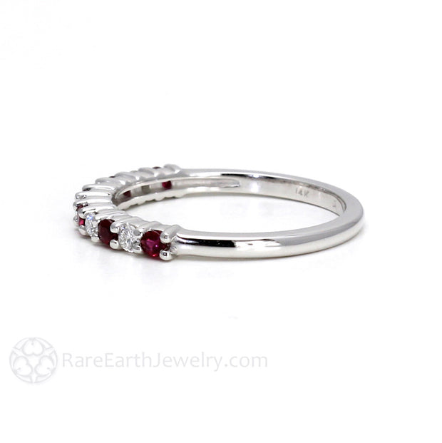 Rare Earth Jewelry 14K Diamond and Ruby Band Stackable Mothers Ring Custom