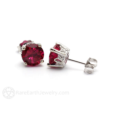 Rare Earth Jewelry Ruby Earrings Round Cut 14K Filigree White Gold