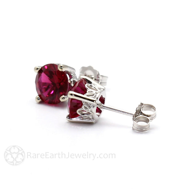 Lab Created Red Ruby Earrings Round Filigree Studs Rare Earth Jewelry