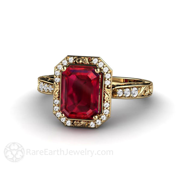 July Birthstone Ring Emerald Ruby Vintage Style Rare Earth Jewelry