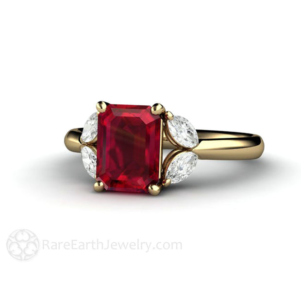 Rare Earth Jewelry 14K Gold Ruby Ring Emerald Cut with Diamond Accent Stones