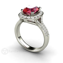 Cushion Cut Ruby with Diamonds Split Shank Halo Setting Rare Earth Jewelry