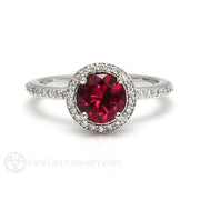 Rare Earth Jewelry Ruby Birthstone Ring Conflict Free Diamond Halo 14K or 18K Gold