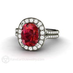 Cushion Ruby Ring Split Shank Diamond Halo July Birthstone or Anniversary Gift Rare Earth Jewelry