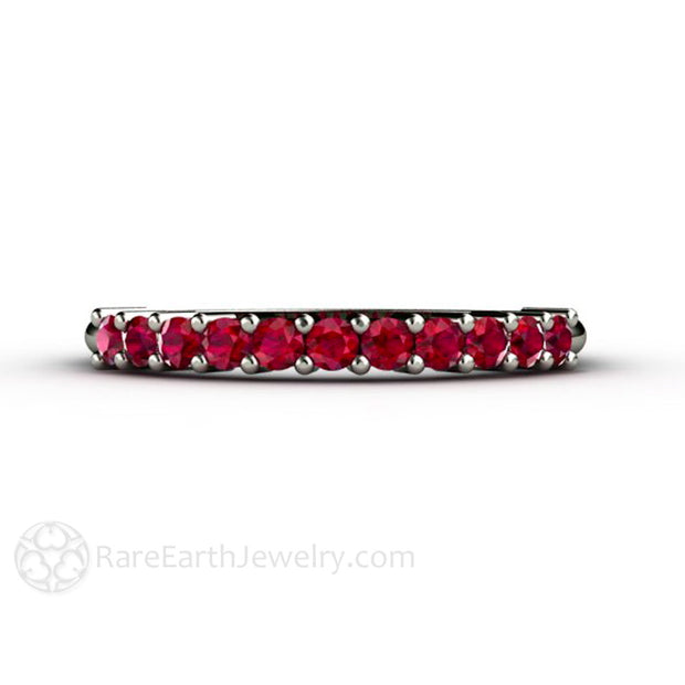 Ruby Wedding Band in White Gold with Round Chatham Lab Created Ruby