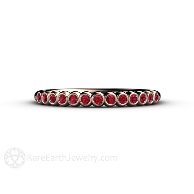 Bezel Set Round Cut Red Ruby Ring Rare Earth Jewelry