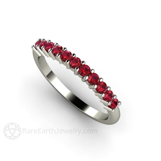 Ruby Ring Stackable Band Red Gemstone Stacking Ring July Birthstone Jewelry