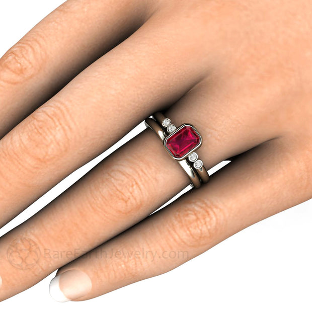 Bezel Emerald Ruby Wedding Ring Set on Finger Rare Earth Jewelry