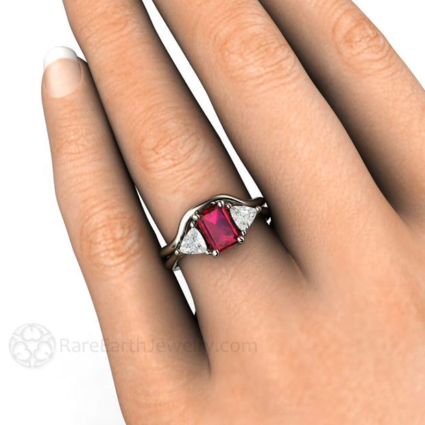 14K Emerald Ruby Wedding Set on Finger Rare Earth Jewelry