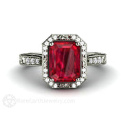 Rare Earth Jewelry Ruby and Diamond Engagement Ring Vintage Halo Design