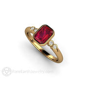 18K Gold Ruby and Diamond Anniversary Ring Rare Earth Jewelry