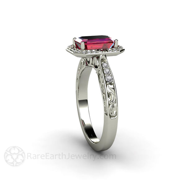 Emerald Cut Antique Style Ruby Ring with Diamond Halo Accent Stones Rare Earth Jewelry