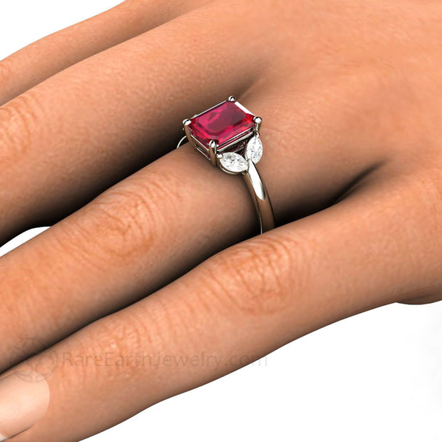 Rare Earth Jewelry Emerald Cut Ruby Engagement Ring on Finger