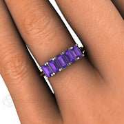 Emerald Cut Amethyst Ring Anniversary Band Stacking Ring February Birthstone