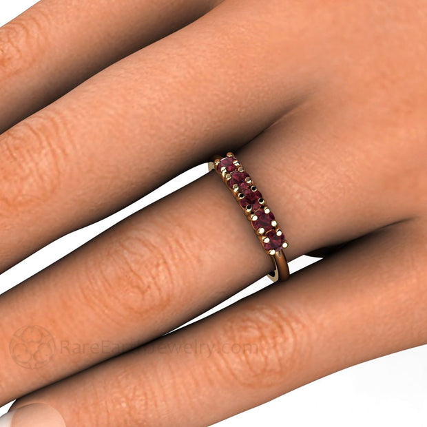 Rhodolite Garnet Stacking Ring rare Earth Jewelry