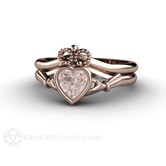 Rare Earth Jewelry Claddagh Wedding Ring Set Heart Morganite Engagement with Plain Gold Bridal Band