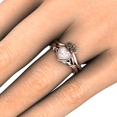 Rare Earth Jewelry Claddagh Morganite Bridal Set on Finger Bezel Heart Setting