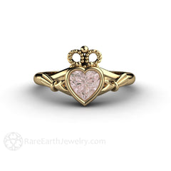 Rare Earth Jewelry Yellow Gold Claddagh Ring with Heart Shaped Morganite Center Stone