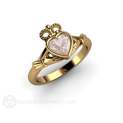 18K Gold Claddagh Morganite Wedding Ring Rare Earth Jewelry